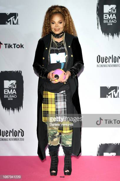 Janet Jackson poses in the Winners room after winning the Global Icon award during the MTV EMAs 2018 on November 4 2018 in Bilbao Spain