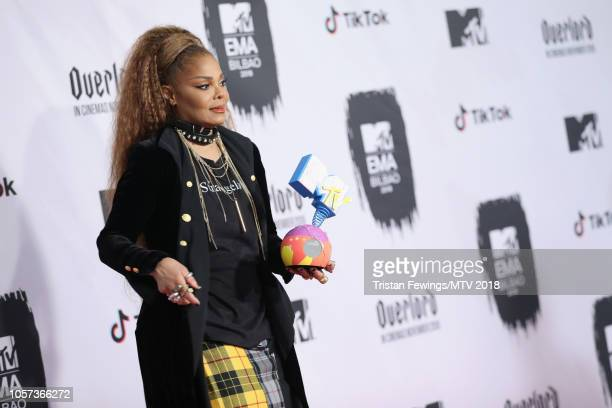 Janet Jackson poses with the Global Icon Award backstage during the MTV EMAs 2018 at Bilbao Exhibition Centre on November 4 2018 in Bilbao Spain