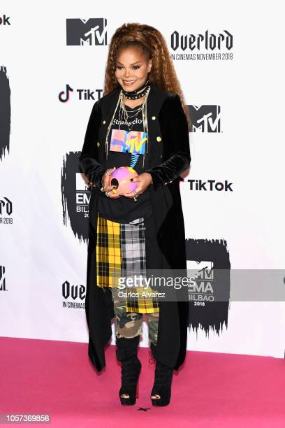 Janet Jackson poses with the Global Icon Award in the Winners room during the MTV EMAs 2018 at Bilbao Exhibition Centre on November 4 2018 in Bilbao...
