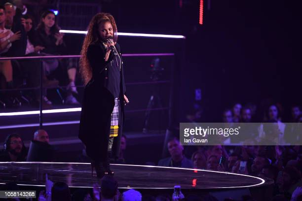 Janet Jackson speaks on stage during the MTV EMAs 2018 at Bilbao Exhibition Centre on November 4 2018 in Bilbao Spain