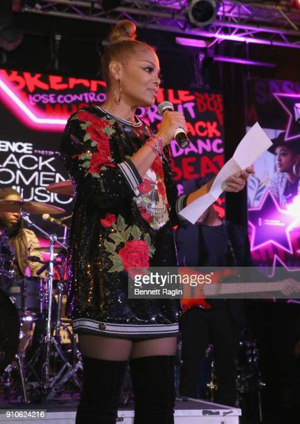 Janet Jackson speaks onstage at the Essence 9th annual Black Women in Music at Highline Ballroom on January 25 2018 in New York City