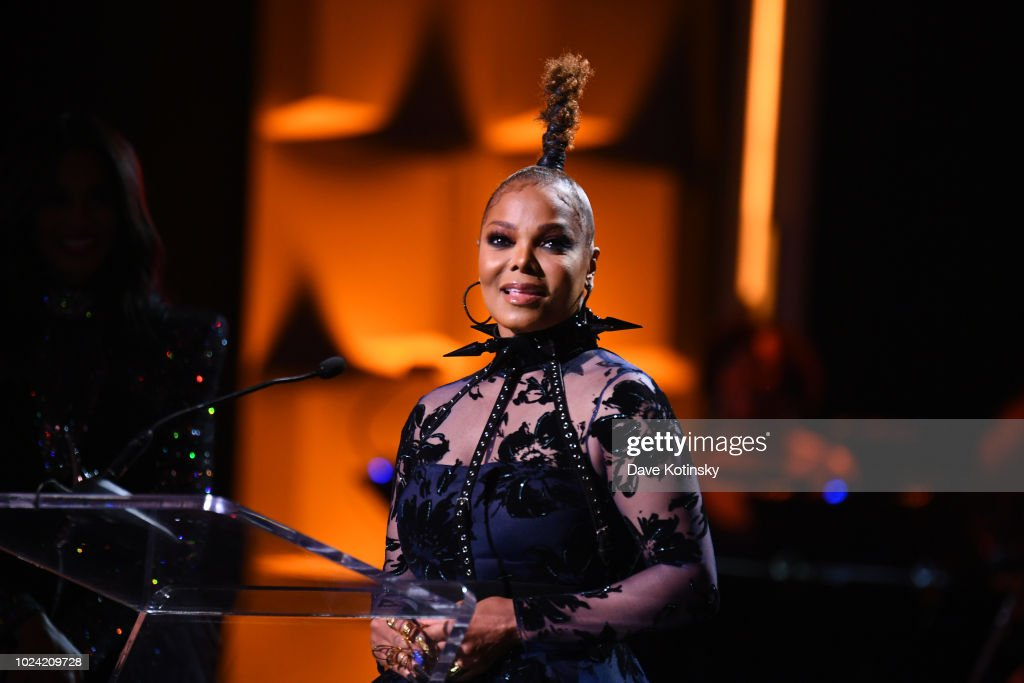 Janet Jackson speaks onstage during the Black Girls Rock! 2018 Show at NJPAC on August 26, 2018 in Newark, New Jersey.