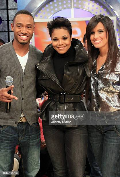Janet Jackson visits BET's 106 Park with hosts Terrence J and Rocsi at BET Studios on October 28 2010 in New York City