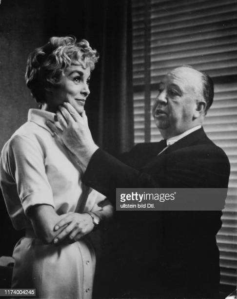 """Janet Leigh, Alfred Hitchcock shooting the Film """"Psycho"""" 1960 Janet Leigh, Alfred Hitchcock shooting the Film """"Psycho"""" 1960"""
