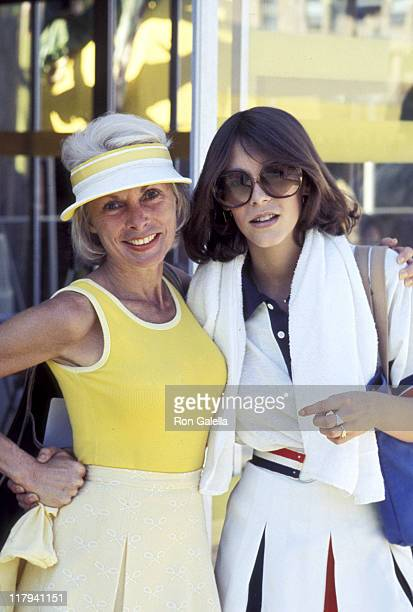 Janet Leigh and Jamie Lee Curtis during LA Tennis Tournament in Los Angeles California United States