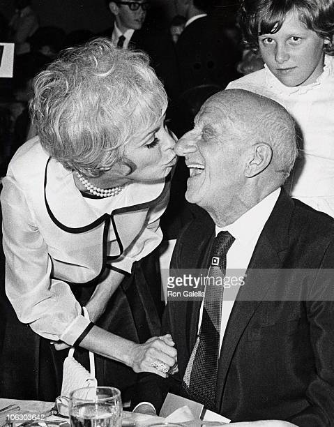 Janet Leigh and Jimmy Durante during Wonderful World of Young Cotillion Trophy Ball Luncheon at Beverly Hilton Hotel in Beverly Hills California...