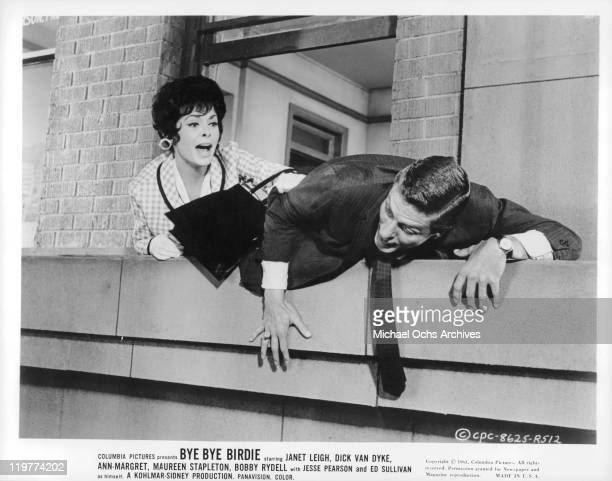 Janet Leigh grabs Dick Van Dyke in a scene from the film 'Bye Bye Birdy' 1963