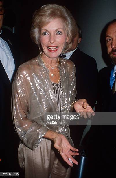 Janet Leigh in taupe lame at a formal event circa 1970 New York