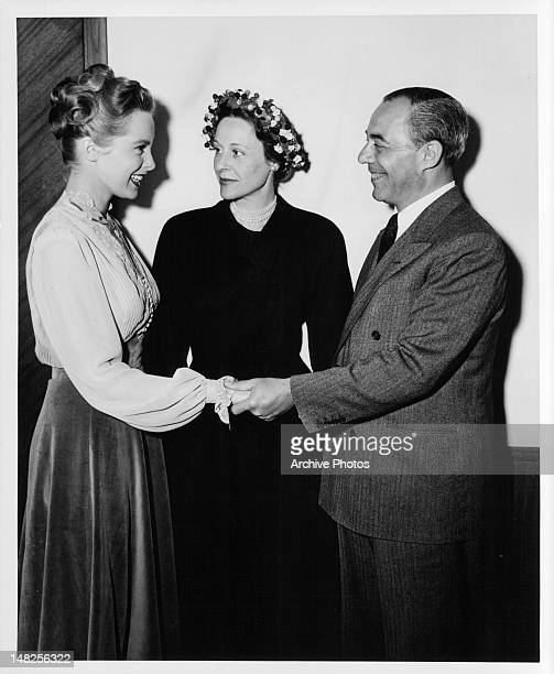 Janet Leigh is visited by songwriter Richard Rodgers and his wife on the set of the film 'Words And Music' 1948