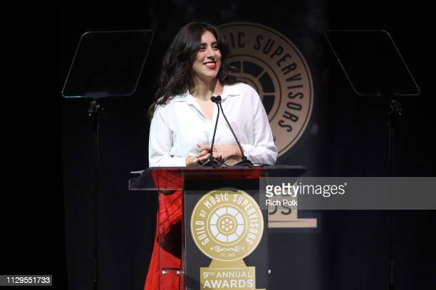 Janet Lopez speaks onstage during the 9th Annual Guild of Music Supervisors Awards on February 13 2019 at The Theatre at Ace Hotel in Los Angeles...