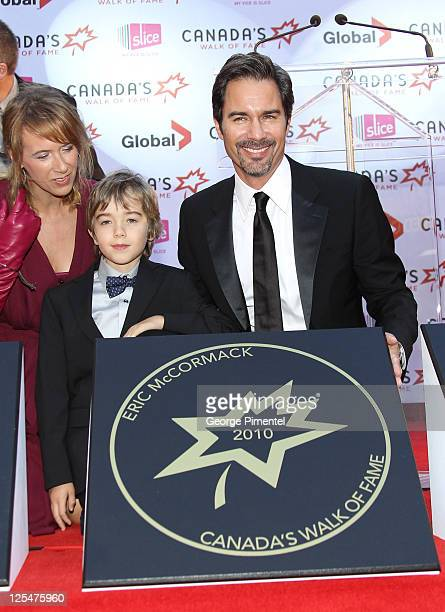 Janet McCormack inductee actor Eric McCormack and son Finnigan McCormack attend Canada's Walk of Fame at the Canon Theatre on October 16 2010 in...