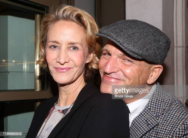 Janet McTeer and Joe Coleman pose at the opening night of the new play My Name Is Lucy Barton on Broadway at The Samuel J Friedman Theatre on January...