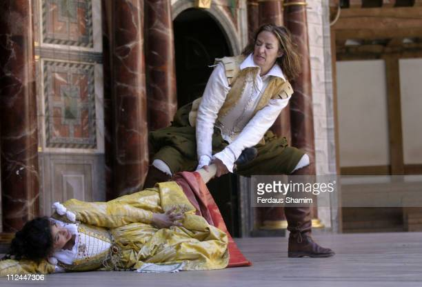 Janet McTeer and Katherine Hunter during Taming The Shrew Photocall at Shakespeares Globe Thertre london in London Great Britain