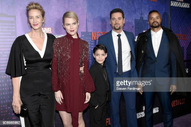 Janet McTeer Rachael Taylor Kevin Chacon JR Ramirez Eka Darville attend Jessica Jones Season 2 New York Premiere at AMC Loews Lincoln Square on March...