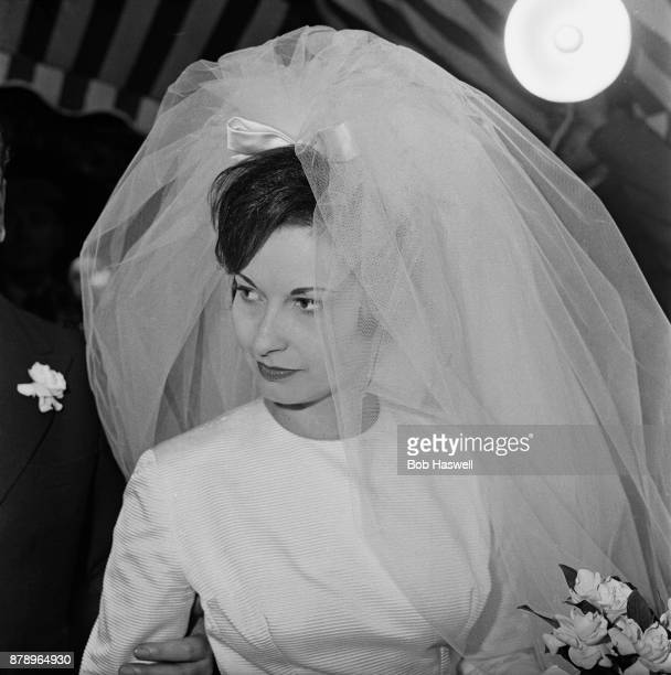 Janet Mercedes Bryce on her wedding day with David Mountbatten 3rd Marquess of Milford Haven UK 17th November 1960