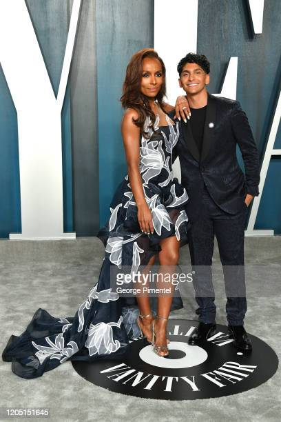 Janet Mock and Aaron Tredwell attend the 2020 Vanity Fair Oscar party hosted by Radhika Jones at Wallis Annenberg Center for the Performing Arts on...