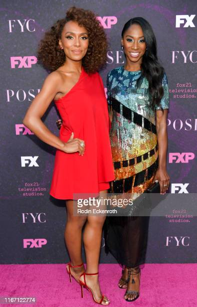 Janet Mock and Angelica Ross attend the red carpet event for FX's Pose at Pacific Design Center on August 09 2019 in West Hollywood California