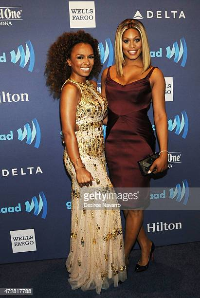 Janet Mock and Laverne Cox attend the 26th Annual GLAAD Media Awards at The Waldorf Astoria on May 9 2015 in New York City