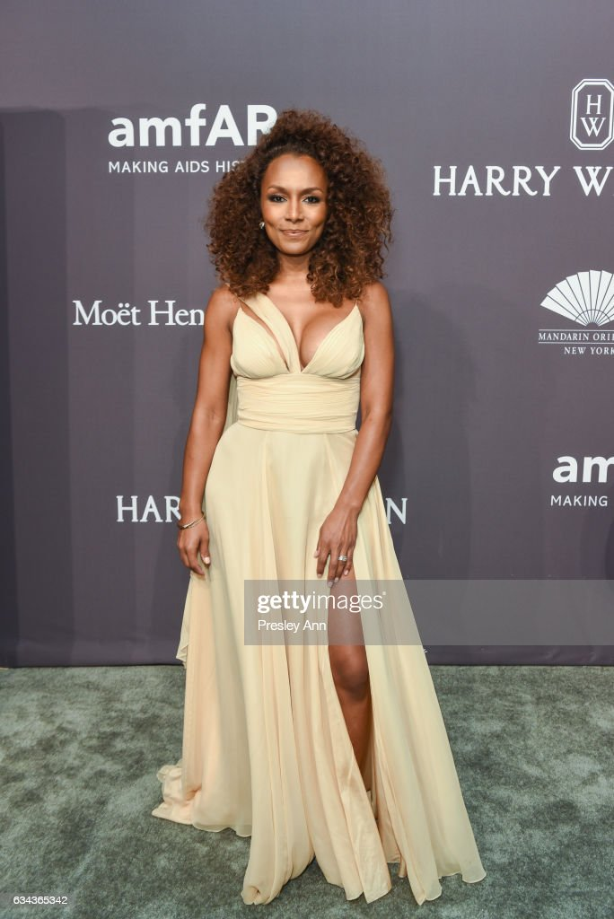 Janet Mock attends 19th Annual amfAR New York Gala- Arrivals at Cipriani Wall Street on February 8, 2017 in New York City.
