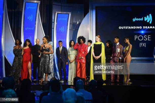 Janet Mock speaks onstage with the cast of Pose during the 30th Annual GLAAD Media Awards New York at New York Hilton Midtown on May 04 2019 in New...