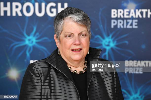 Janet Napolitano attends the 2020 Breakthrough Prize Red Carpet at NASA Ames Research Center on November 03 2019 in Mountain View California