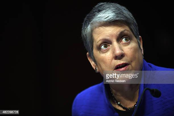 Janet Napolitano president of the University of California speaks during a hearing of the Senate Health Education Labor and Pensions Committee on...