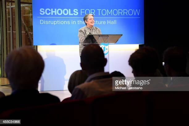 Janet Napolitano president of the University of California speaks onstage at The New York Times 2014 Schools For Tomorrow Conference at...