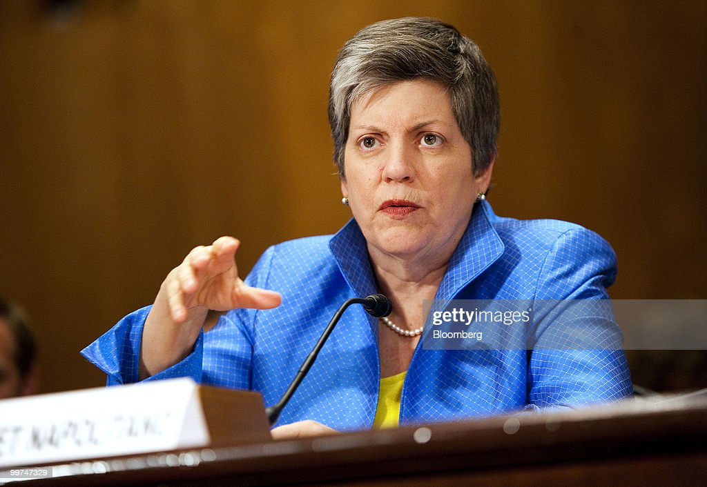 Janet Napolitano, U.S. homeland security secretary, testifies at a Senate Homeland Security Committee hearing in Washington, D.C., U.S., on Monday, May 17, 2010. BP Plc will be held accountable for the costs and damages associated with its leaking well in the Gulf of Mexico as the U.S. government continues to help contain the spill, Napolitano said. Photographer: Joshua Roberts/Bloomberg via Getty Images *** Janet Napolitano