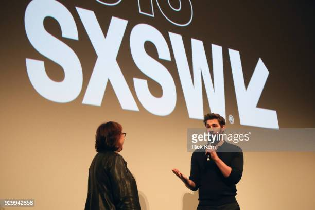Janet Pierson and John Kransinski attend the Opening Night Screening and World Premiere of 'A Quiet Place' during the 2018 SXSW Film Festival on...