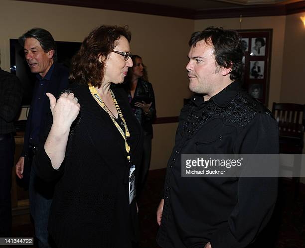 Janet Pierson Producer SXSW Film Festival and actor Jack Black attend the world premiere of Bernie during the 2012 SXSW Music Film Interactive...