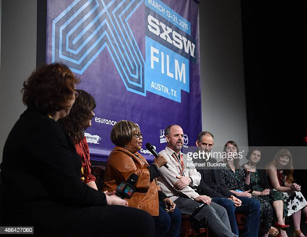 Janet Pierson SXSW Film Festival Director director Jessica Edwards singer Mavis Staples speak at the QA at the premiere of Mavis during the 2015 SXSW...