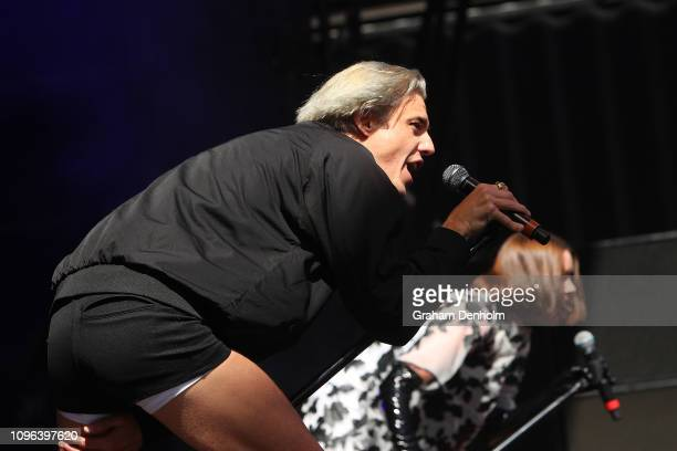 Janet Planet and Sugar Bones from Confidence Man perform on the AO Live Stage during day six of the 2019 Australian Open at Melbourne Park on January...