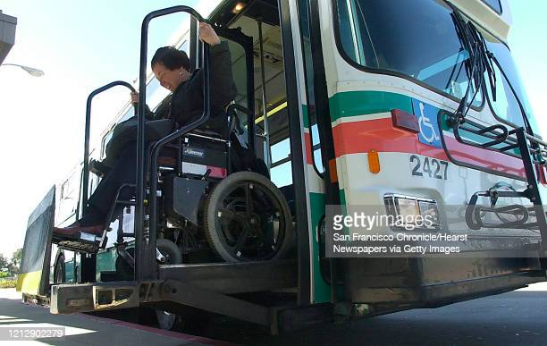 MC Janet rides the wheelchair lift off of an AC transit bus at the El Cerrito Del Norte BART Station Commuter Chronicle Janet Abelson the mayor of El...