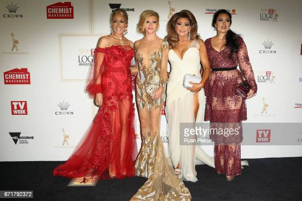 Janet Roach Gamble Breaux Gina Liano and Lydia Schiavello arrives at the 59th Annual Logie Awards at Crown Palladium on April 23 2017 in Melbourne...
