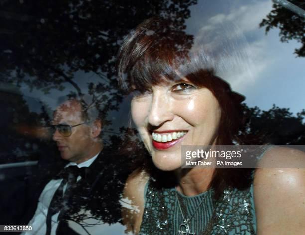 Janet Street Porter arrives at Sir Elton John's White Tie Tiara summer party Old Windsor Berkshire