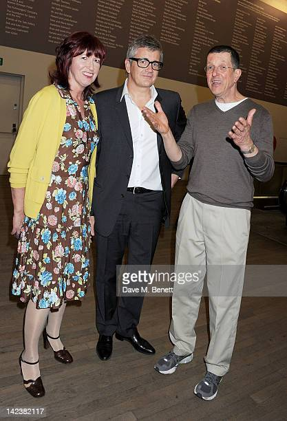 Janet StreetPorter Jay Jopling and Antony Gormley attend a private view of the Damien Hirst retrospective exhibition at the Tate Modern on April 3...