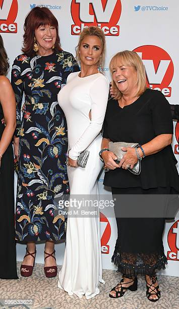 Janet StreetPorter Katie Price and Linda Robson arrive for the TVChoice Awards at The Dorchester on September 5 2016 in London England