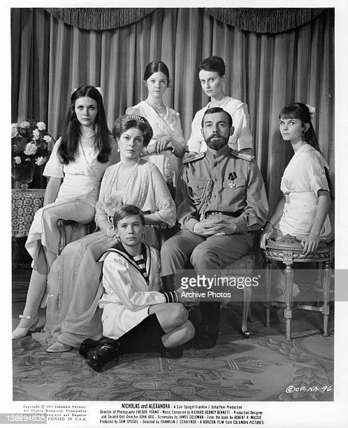 Janet Suzman and Michael Jayston pose for family photo in a scene from the film 'Nicholas And Alexandra' 1971