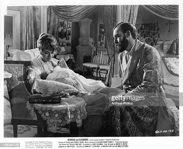 Janet Suzman and Michael Jayston with baby in a scene from the film 'Nicholas And Alexandra' 1971