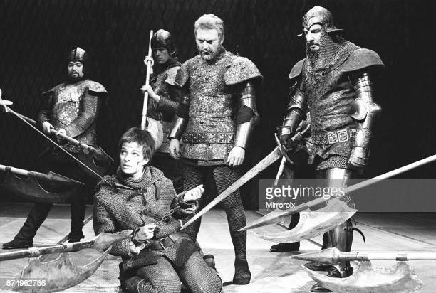 Janet Suzman Donald Sinden and Brewster Mason seen here on stage at the RSC Stratford Upon Avon performing a scene from Henry VI 15th July 1963
