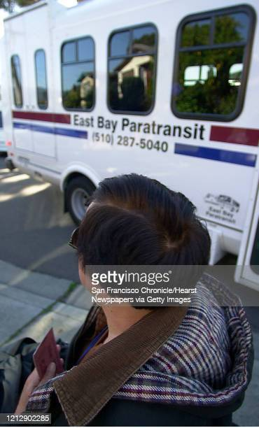 MC Janet waits as the East Bay Paratransit van stops to pick her up Commuter Chronicle Janet Abelson the mayor of El Cerrito uses a wheelchair to get...