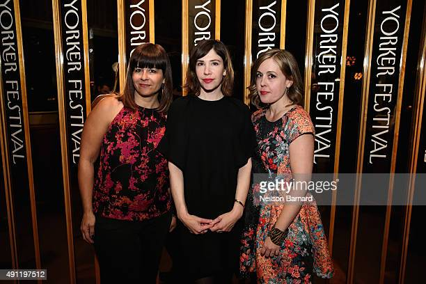 """Janet Weiss Carrie Brownstein and Corin Tucker of the band SleaterKinney attend the 2015 New Yorker Festival """"Wrap Party"""" hosted by David Remnick at..."""