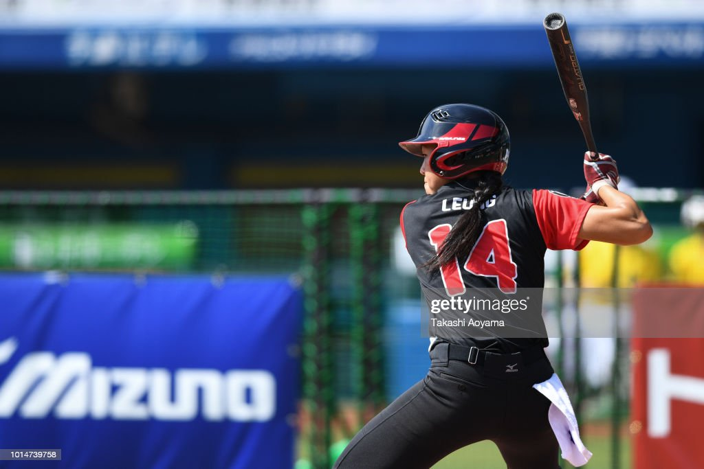 Janet Wendy Leung #14 of Canada bats against Netherlands during their Playoff Round match at ZOZO Marine Stadium on day nine of the WBSC Women's Softball World Championship on August 10, 2018 in Chiba, Japan.