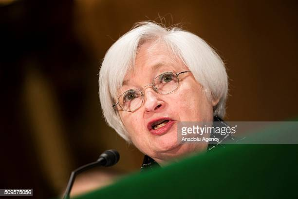 Janet Yellen Chair of the Federal Reserve Board of Governors testifies during a Senate Banking Committee hearing on the semiannual monetary report to...
