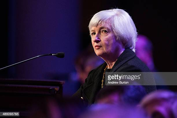 Janet Yellen Chair of the Federal Reserve speaks at The Economic Club of New York on April 16 2014 in New York City Yellen addressed topics including...