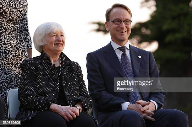 Janet Yellen chair of the US Federal Reserve and Jens Weidmann president of the Deutsche Bundesbank sit during a group photo session ahead of the...