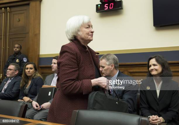 Janet Yellen chair of the US Federal Reserve arrives for a House Financial Services Committee hearing in Washington DC US on Wednesday Feb 15 2017...