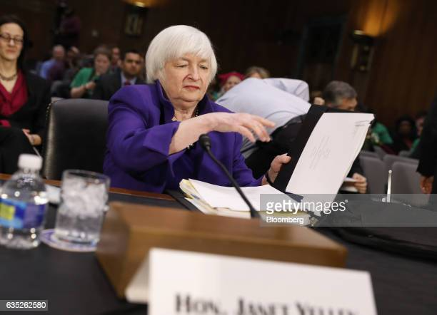 Janet Yellen chair of the US Federal Reserve arrives for a Senate Banking Housing and Urban Affairs Committee hearing in Washington DC US on...