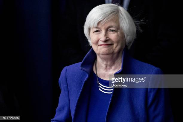 Janet Yellen chair of the US Federal Reserve arrives to a news conference following a Federal Open Market Committee meeting in Washington DC US on...