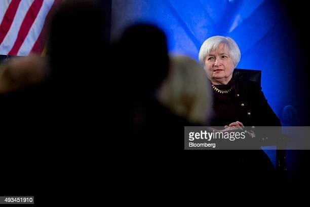 Janet Yellen chair of the US Federal Reserve attends a Labor Hall of Fame Honor induction ceremony at the US Department of Labor in Washington DC US...